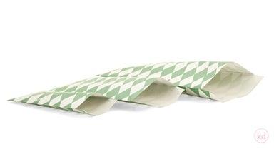 Image of Vihreä harlekiini -paperipussi, 10 kpl + tarrat pussien sulkemiseen