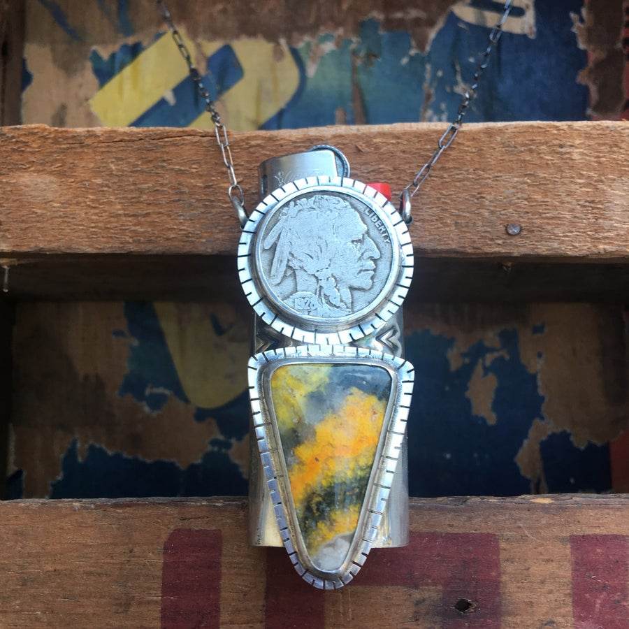 Image of REVERSIBLE BUMBLE BEE JASPER, NICKEL AND TURQUOISE LIGHTER NECKLACE
