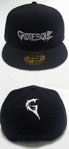 Image of White Embroidered Grotesque Snap Back Hats