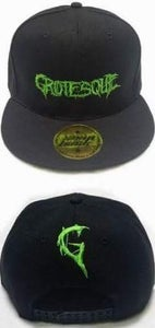 Image of Green Embroidered Grotesque Snap Back Hat