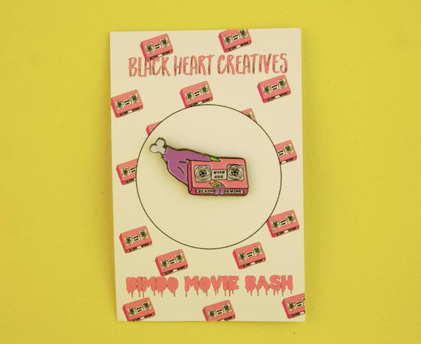 Zombie VHS Hand Bimbo Movie Bash Collaboration Pin  - Black Heart Creatives