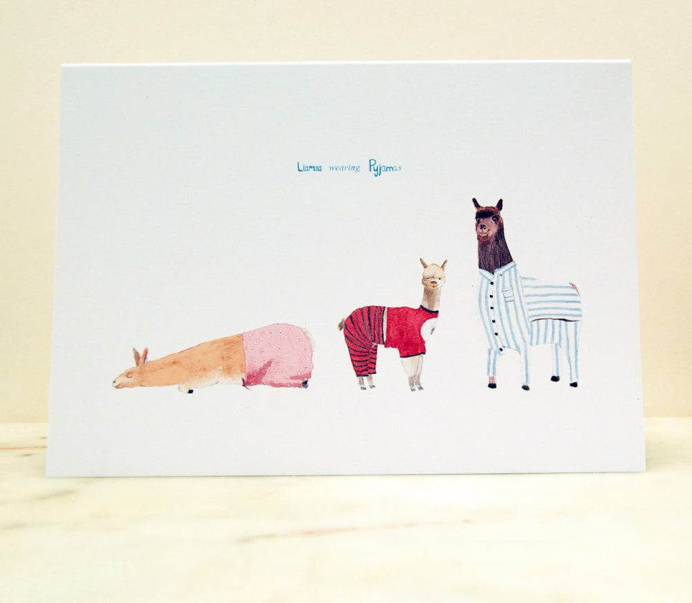 Image of Llamas wearing Pyjamas