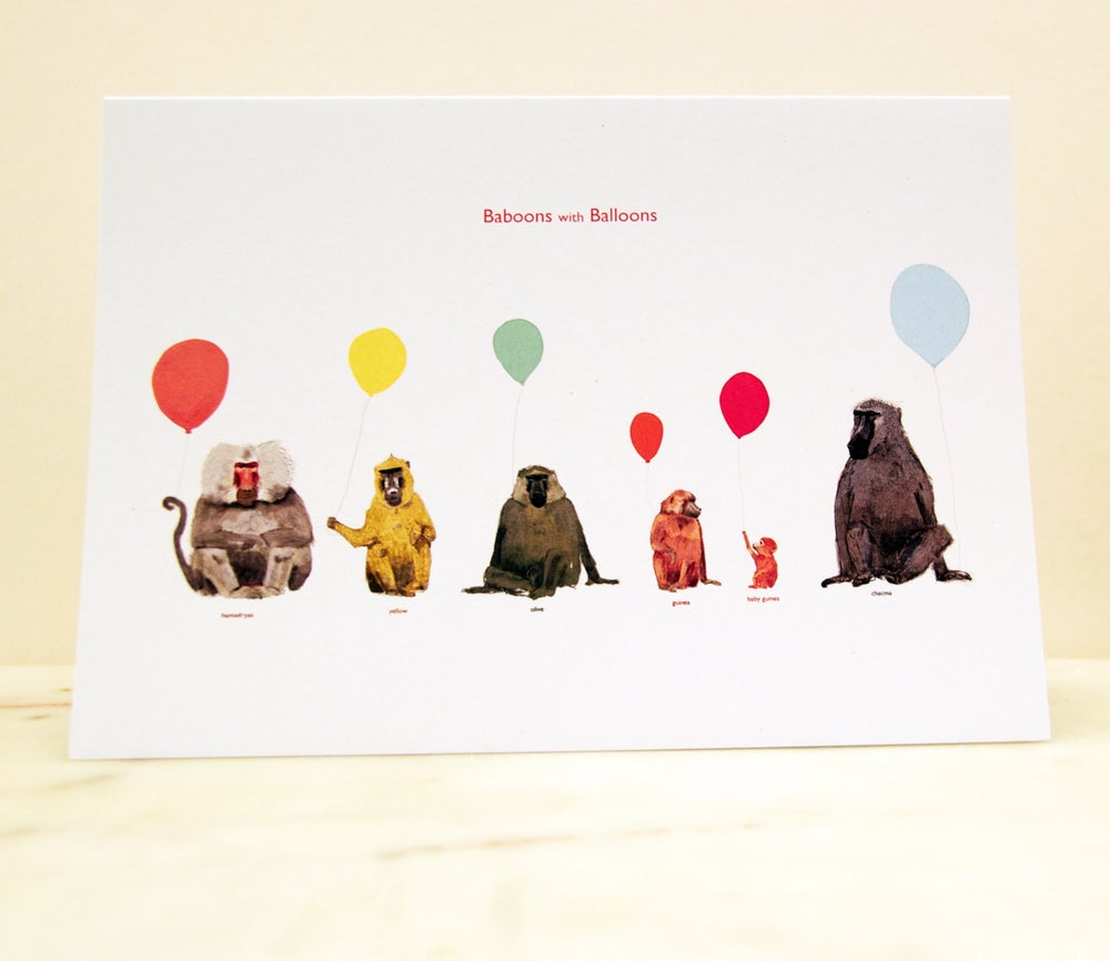 Image of Baboons with Balloons Card