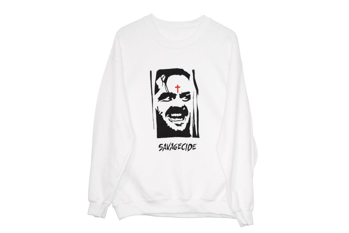 "Image of ""Savagecide"" Crewneck (White)"