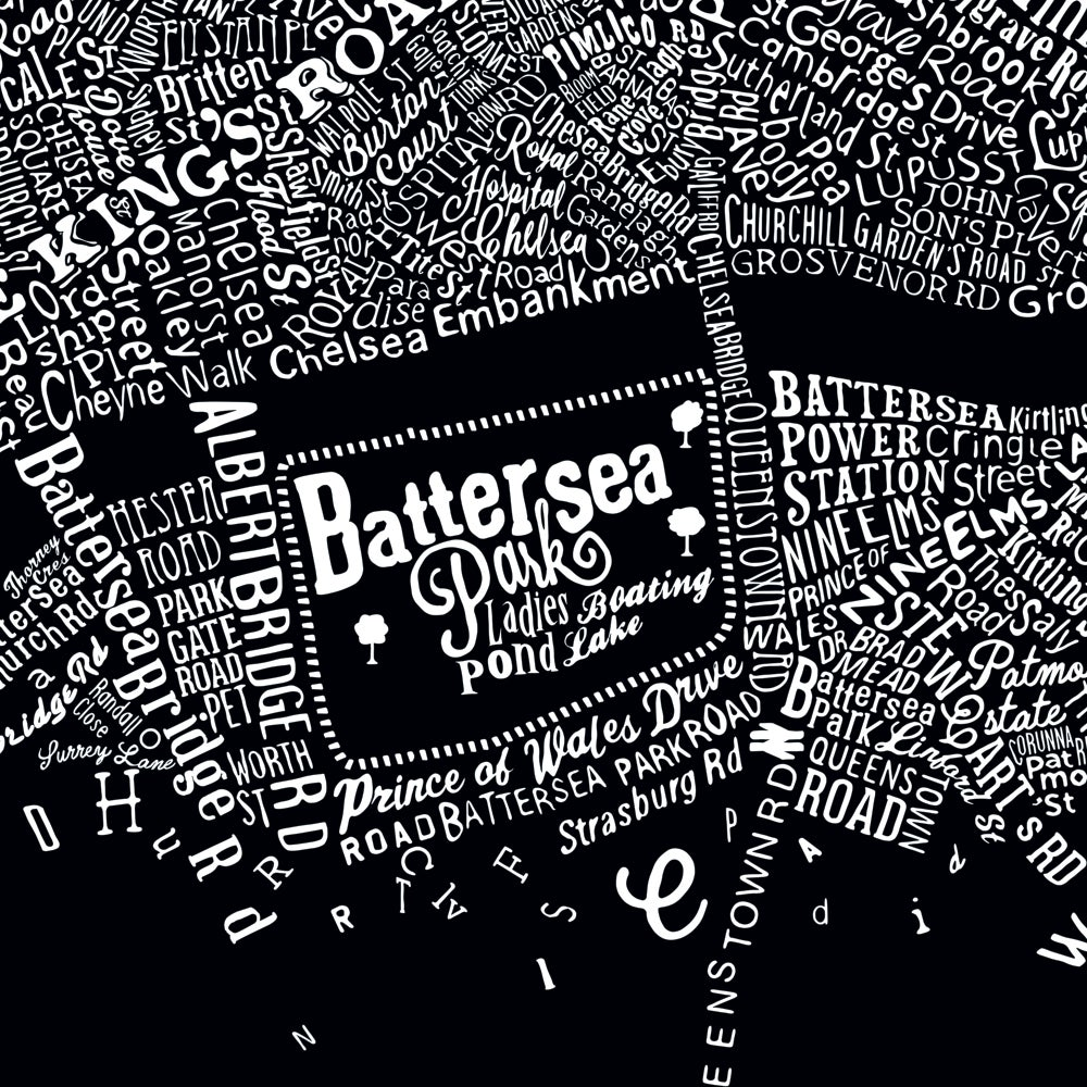 Image of Typographic Street Map Of Central London (Black, 2016)