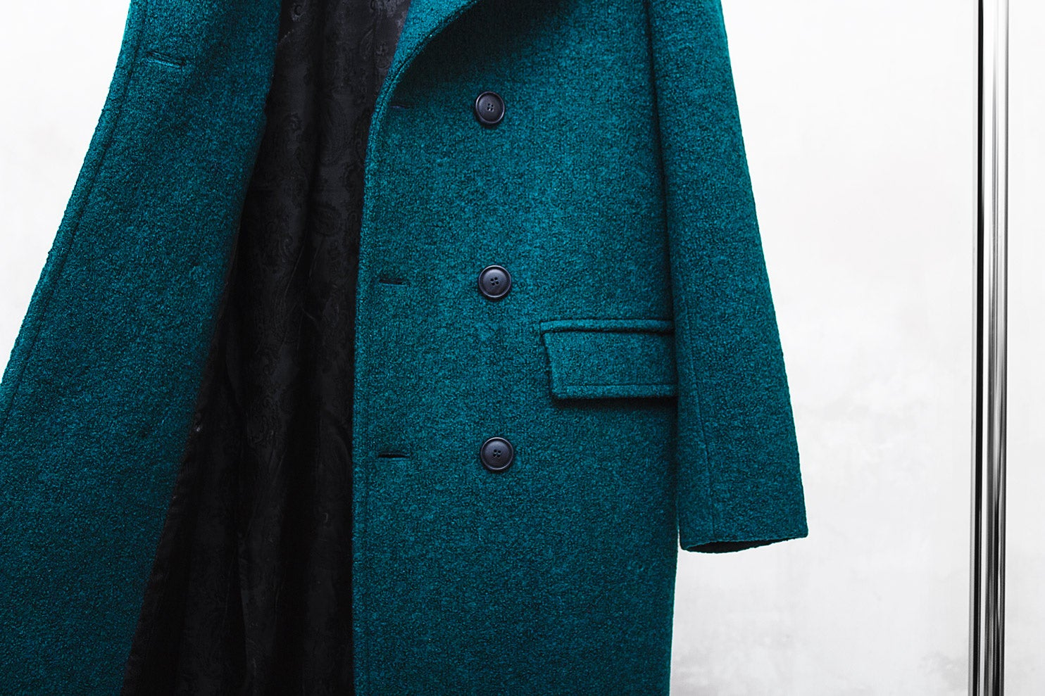 Image of LIMITED EDITION | Turquoise Blue Wool-Blend Bouclé Overcoat