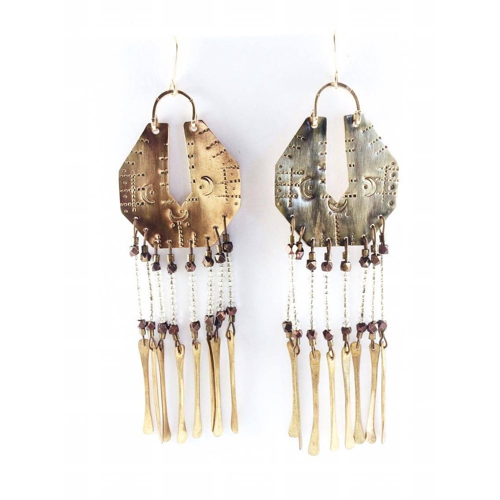 Image of Serpentina Brass Fringe Earrings Clear Glass Beads