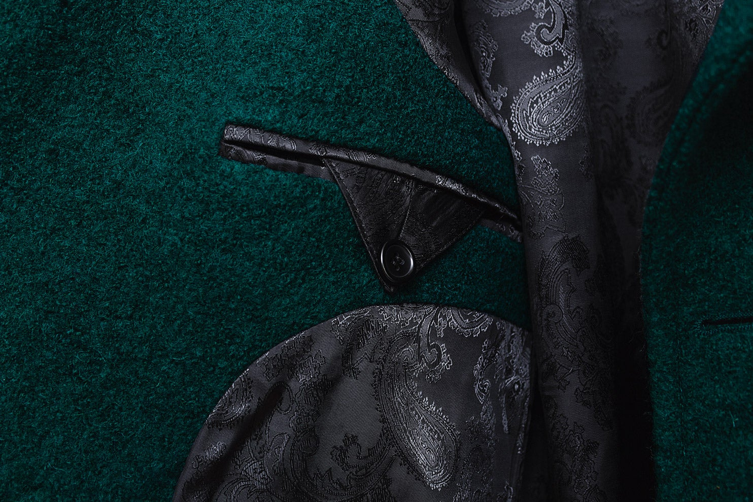 Image of LIMITED EDITION   Dark Green Wool-Blend Bouclé Overcoat