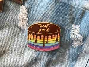 Image of Treat Yoself Drippy Cake Pin
