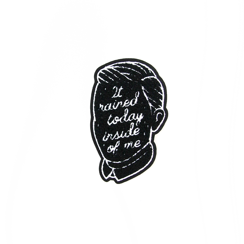 "Image of ""It Rained Today Inside of Me"" Chenille Patch"