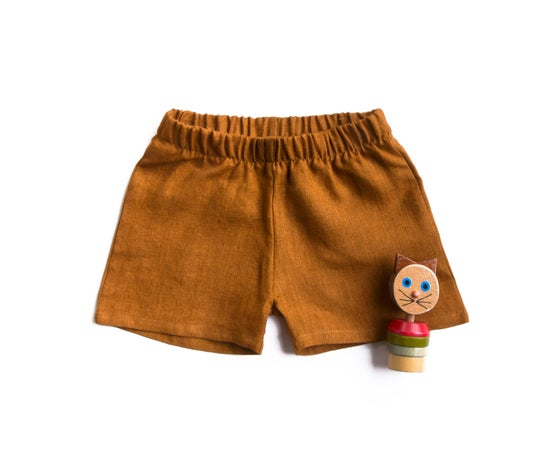 Image of Rust stonewashed linen pants