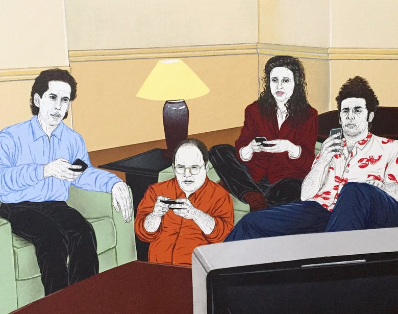 Image of Seinfeld 2016, the show about nothing, everyone on their phones print