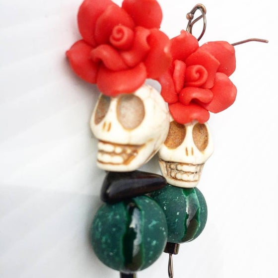 Image of Dia de los Muertos ~ Frida Inspired Howlite Carved Skull and Jasper with hand made ceramic bead