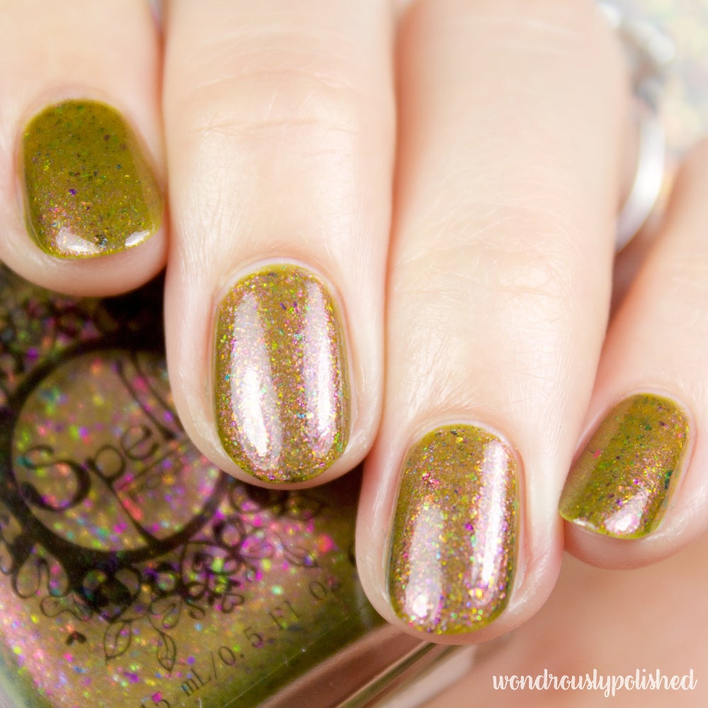 Image of ~Heartland~ dark mustard duochrome w/multichrome flakes nail polish!