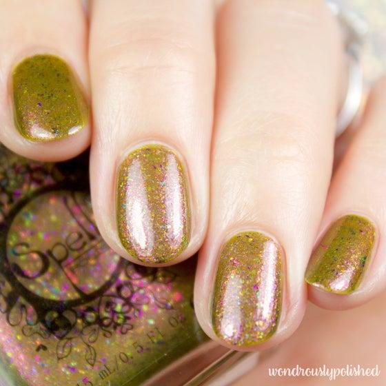 Image of ~Heartland~ dark mustard duochrome w/multichrome flakes nail polish!