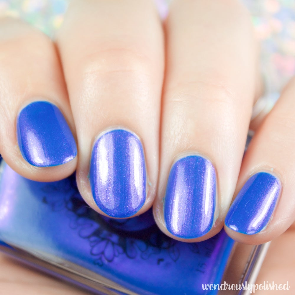 Image of ~Turning Back Waves~ creamy cerulean blue/pink duochrome nail polish!