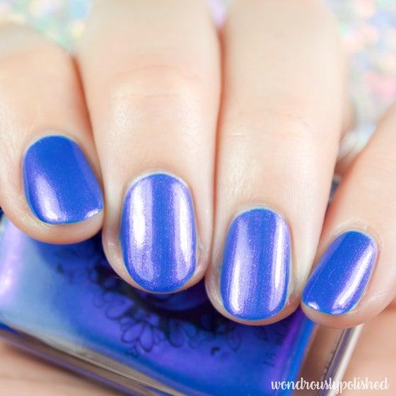 Image of ~Turning Back Waves~ creamy cerulean blue/pink duochrome nail polish!