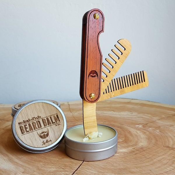 Image of Multi-tool Pocket Beard Comb - Folding Wood Travel Beard Comb