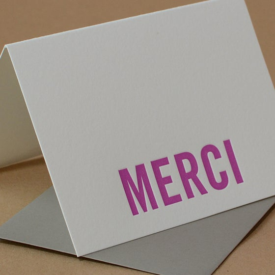 Image of 25 Fuchsia Modern Block Letterpress Merci Notes