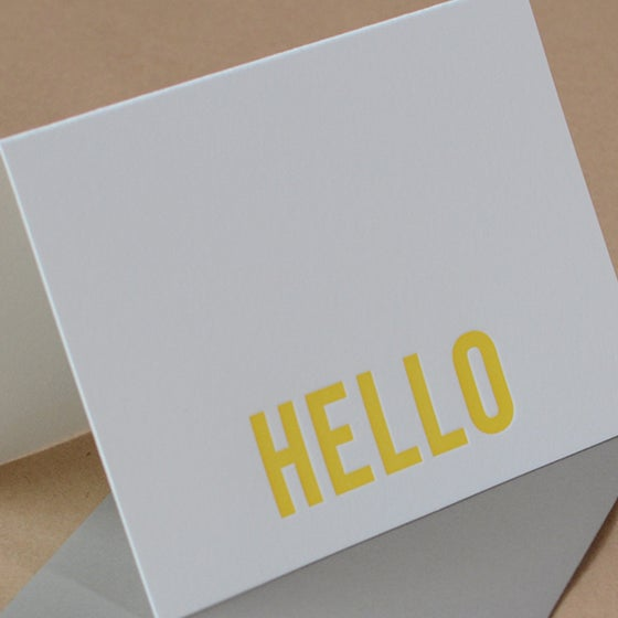 Image of 25 Sunshine Modern Block Letterpress Hello Notes