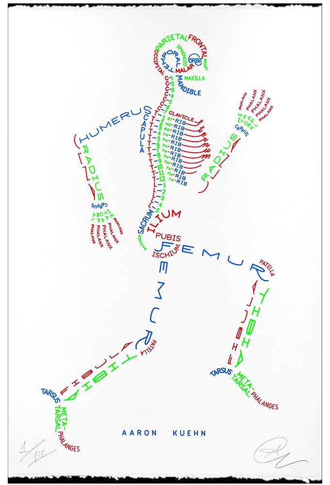 Aaron Kuehn — Skeleton Typogram - 3 Color Print