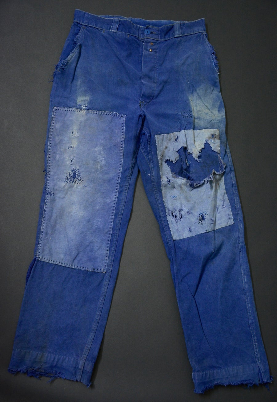 Image of 1950'S FRENCH INDIGO PANTS DARNED & PATCHED フレンチコットンパッチワークパンツ