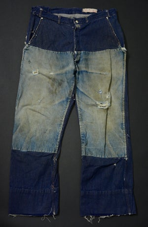Image of 1960's FRENCH DENIM PANTS FADED PATCHED フレンチパッチワークデニムパンツ