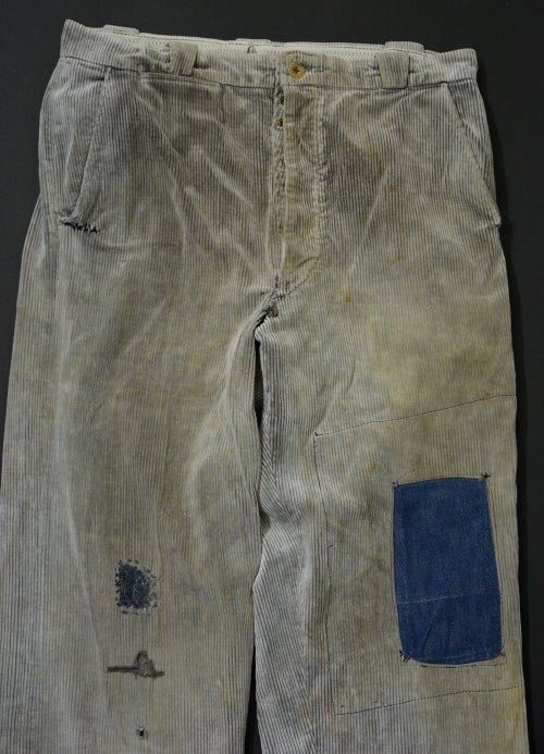 Image of 1950'S FRENCH GREY CORDUROY PANTS FADED & PATCHED