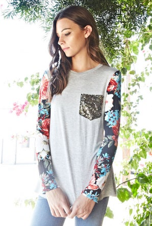 Image of Floral Sequin Top
