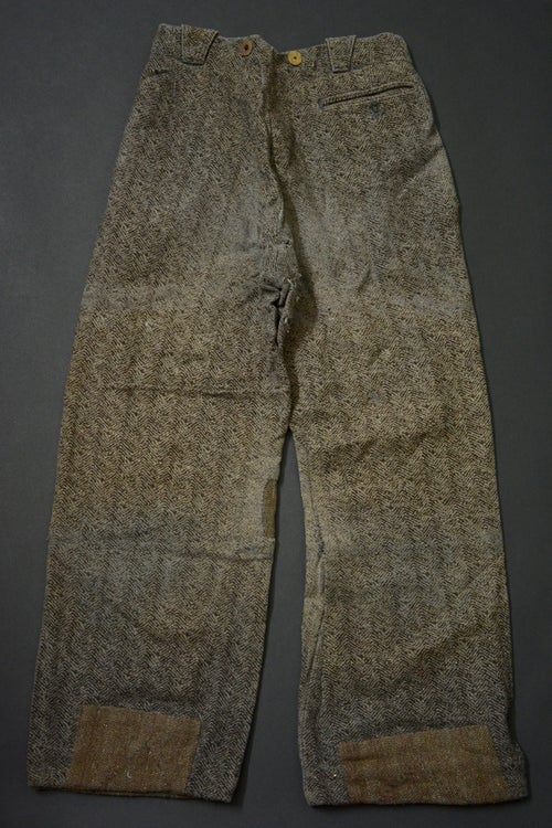 Image of 1920 FRENCH GREY PASCAL WOOL PANTS PATCHED