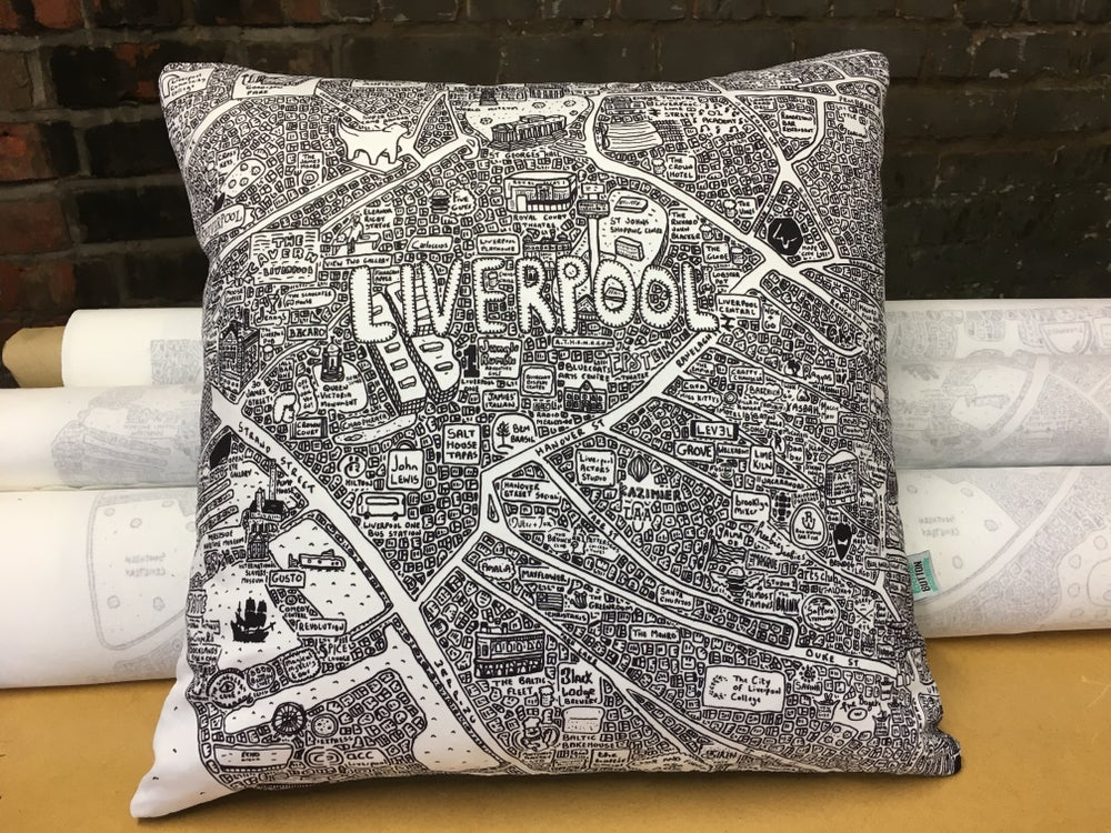 Image of Liverpool Doodle Map Cushion