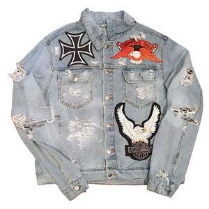 """Image of Rock Hard Vintage Premium Biker Denim Jacket I """"Choppers Rule"""""""