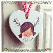 Image of Personalised Chistmas Antlers Heart Decoration