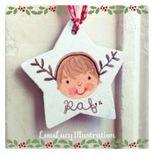 Image of Personalised Christmas Antlers Star Decoration