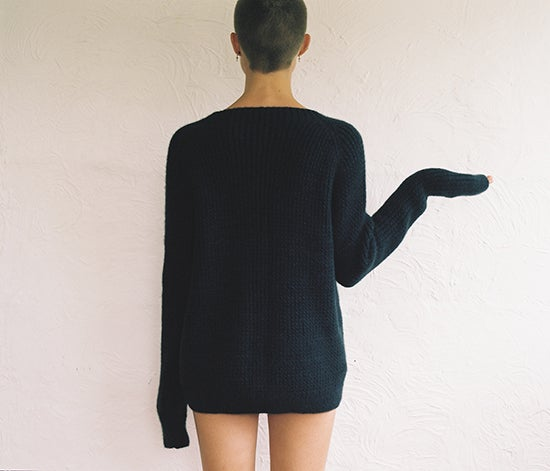 Image of Ribbed Deep Navy Cashmere Jumper