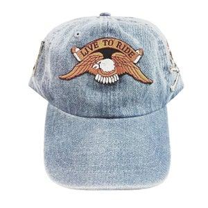 """Image of Rock Hard Vintage """"Biker"""" Denim Dad Hat"""