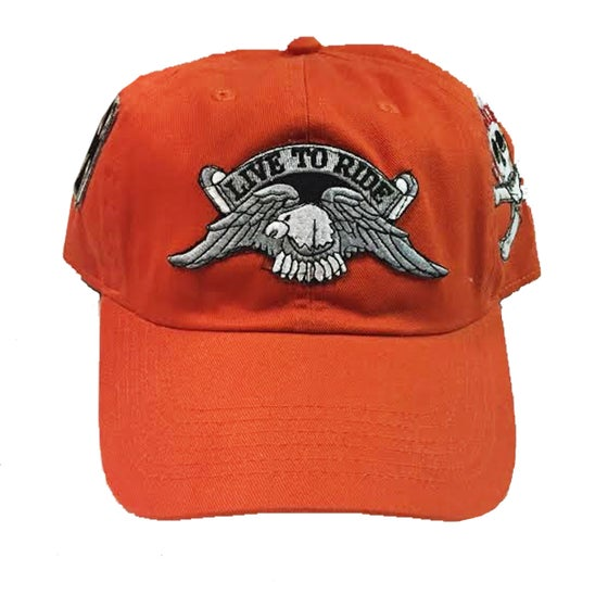 """Image of Rock Hard Vintage """"Biker"""" Orange Dad Hat"""