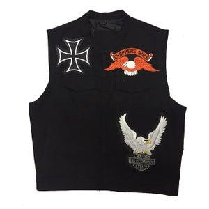 """Image of Rock Hard Vintage """"Biker"""" Black Denim Vest"""