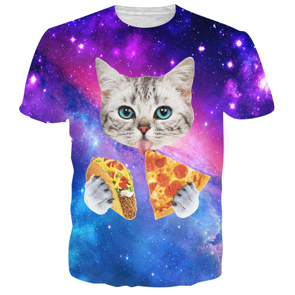 Pizza & Taco Space Cat 2 T Shirt