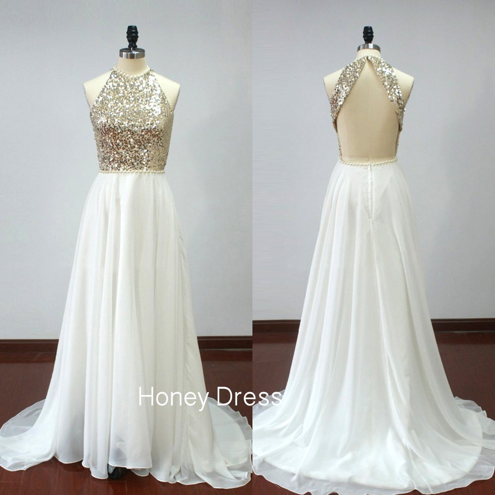 White a Line Chiffon Prom Dresses