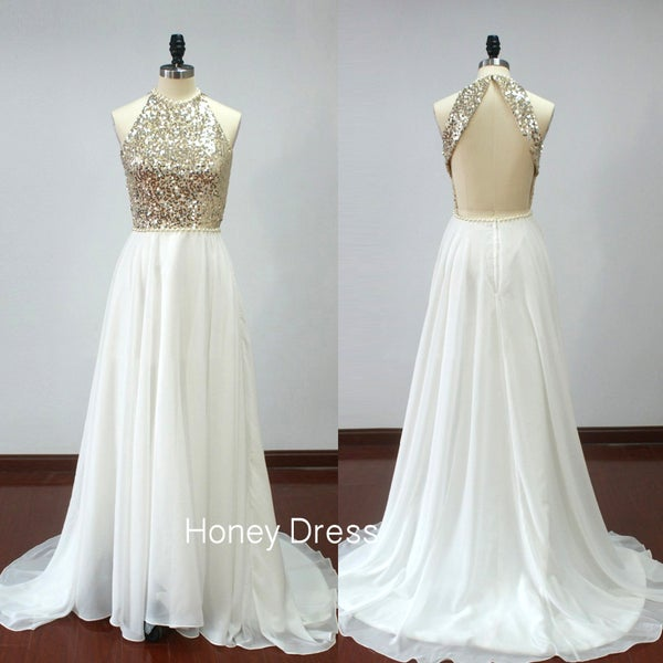 Image of White Chiffon A-line Beaded Prom Dress, Gold Sequins Bodice Halter Prom Gown With Open Back