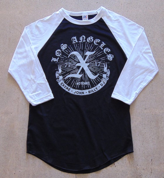 Image of Unisex Raglan Black Body White Sleeve