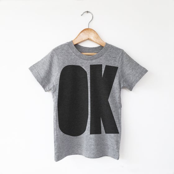 Image of OK T-shirt - Black on Grey Marle