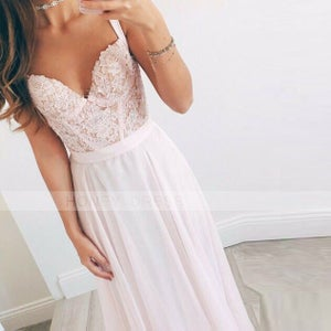 Image of Pink Chiffon Thin Straps Sweetheart Prom Gown With Bodice