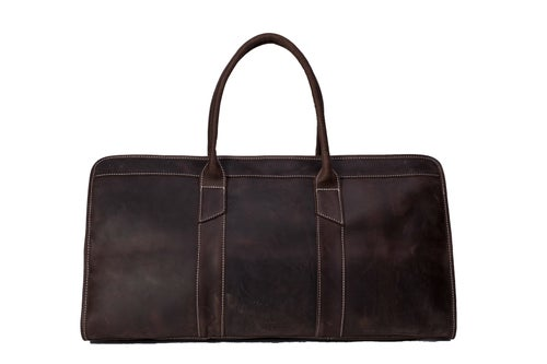 Image of 22'' Handmade Large Leather Travel Bag, Duffle Bag, Weekender Bag MG32