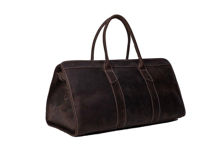 Image of 22'' Handmade Large Leather Travel Bag, Duffle Bag, Weekender Bag MG32