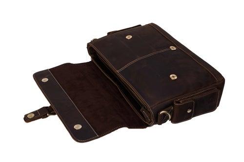 Image of Handmade Genuine Natural Leather Briefcase, Men's Messenger Bag, Shoulder Bag 0166