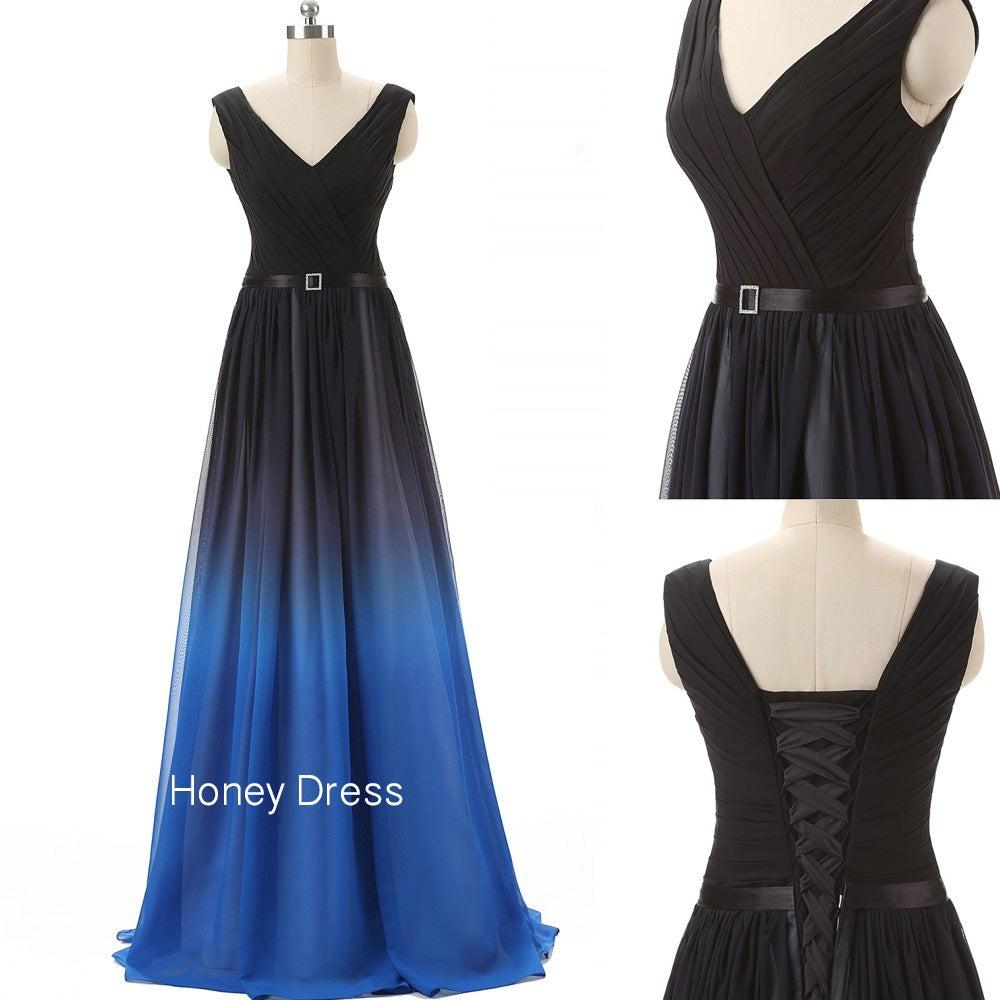 honey dress � chiffon vneck prom dressblack blue
