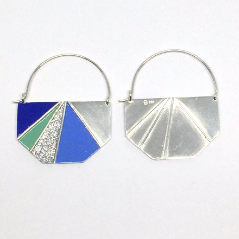 Image of Divided Half Hexagon Earrings - Cool Glitter