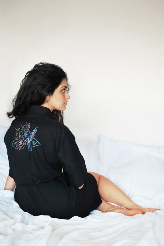 Image of Floral Embroidered Robe